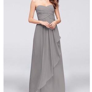 Strapless Crinkle Chiffon Dress with Cascade Skirt